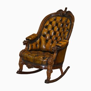 Hand-Carved 13 Star American Flag & Eagle Chesterfield Rocking Armchair, 1830s