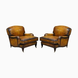 Fully Restored Whisky Brown Leather Bridgewater Armchairs from Howard & Sons, Set of 2