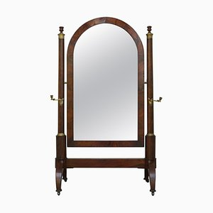 French Empire Mahogany and Gilt Metal Cheval Mirror with Candles, 1810s