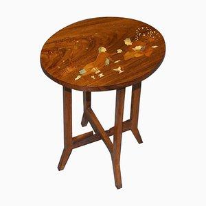 Antique Japanese Inlaid Hardwood Shibayama Side Table Depicting Lovers