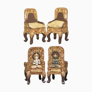 Tibetan Ceremonial Chairs with Buddhist Nyingma Carved in Backs, 1900s, Set of 2