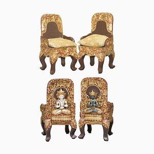 Tibetische Zeremonielle Stühle mit Geschnitzten Nyingma Rückenlehnen, 1900er, 2er Set