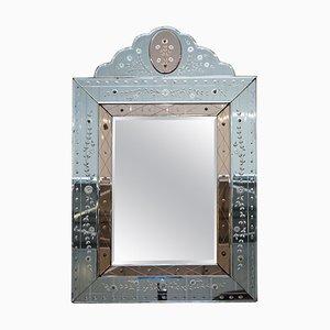 Französischer Art Deco Geätzter, Gravierter & Abgeschrägter Venezianischer Spiegel aus Pfirsichglas, 1930er