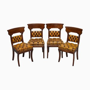 Restored Regency Walnut & Brown Leather Chesterfield Dining Chairs, Set of 4