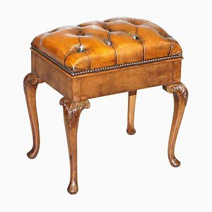 Walnut Cigar Brown Leather Piano Bench Stool
