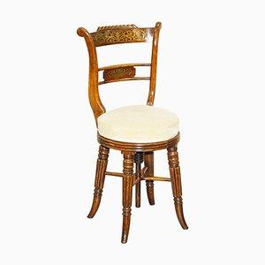 Chaise de Harpiste à Hauteur Ajustable Regency en Bois Dur de Gillows of Lancaster