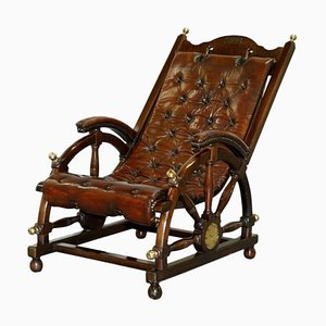 Stamped Brown Leather Clermont Baltimore Chesterfield Armchair, 1800s