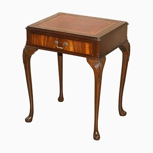 Small Oxblood Leather Topped Hardwood Writing Desk or Large Side Table