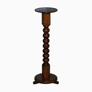Tall Edwardian English Oak & Walnut Bobbin Turned Side Table