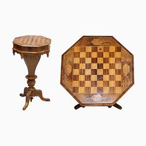 Viktorianischer Näh- oder Schachspieltisch aus Nussholz
