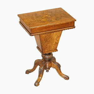 Burr Walnut & Tunbridge Inlaid Sewing Box Table with Carved Feet
