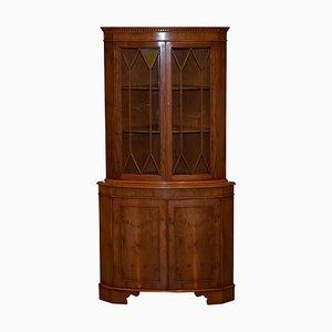 Burr Yew Wood Astral Glazed Corner Cabinet from Bradley Furniture