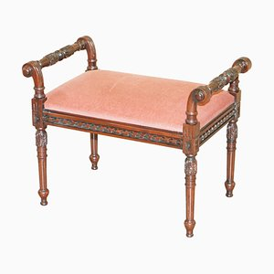 Regency Style Carved Hardwood Piano Stool or Dressing Table Bench