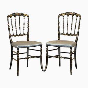 Regency Chinoiserie Handpainted & Ebonized Floral Chairs, Set of 2