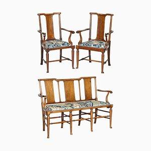 Tabard Bank & Sessel mit William Morris Bezug von Richard Norman Shaw, 3er Set