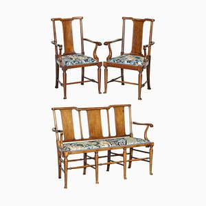 Tabard Bench & Armchairs in William Morris Upholstery by Richard Norman Shaw, Set of 3