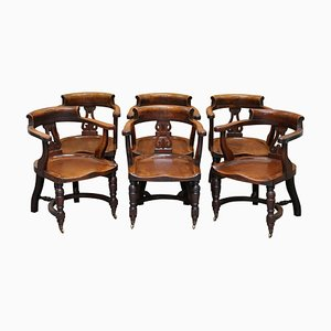 Eton College Victorian Walnut Captains Chairs, Set of 6