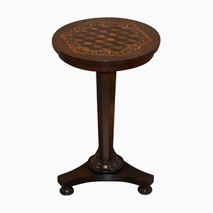 Victorian Hardwood Occasional Table with Geometric Marquetry Inlaid Wood Top