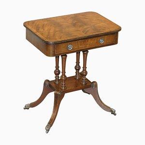Flamed Hardwood Single-Drawer Side Table on Four-Pillar Base