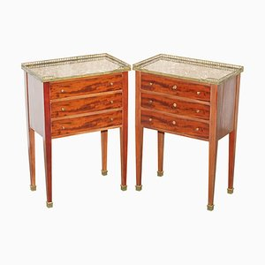Neoclassical Cuban Hardwood, Marble & Brass Side Tables, Set of 2