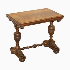 Dutch Hand-Carved Solid Oak Side Table
