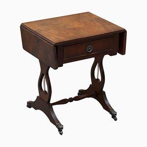 Petite Table d'Appoint ou de Jeu en Bois Dur Craquelé avec Plateau Extensible