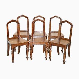 Chaises de Salle à Manger Gothiques Victoriennes en Chêne, 1890s, Set de 6