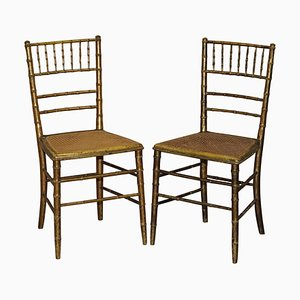 Giltwood Bamboo Regency Bergere Chairs, Set of 2