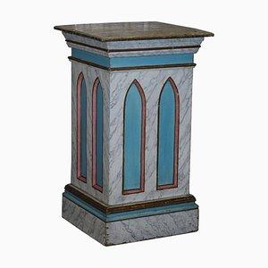 Großer Sockel oder Sockel aus lackiertem Marmor im gotischen Stil