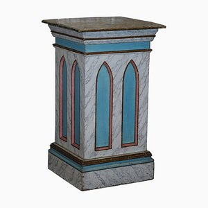 Large Gothic Style Painted Marble Effect Pedestal or Plinth