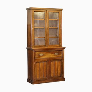 Light Hardwood Secrétaire Bookcase with Brown Leather Surface
