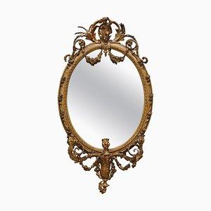 Gilt Framed Girandole Mirror with Carved Cherubs, 1800s