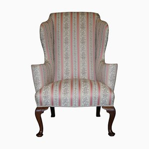 Regency Walnut Wingback Armchair with Striped Fabric from Howard & Sons