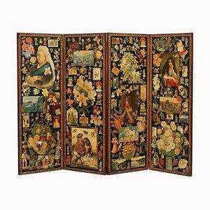 Queen Victoria Decoupage Four Panel Folding Screen