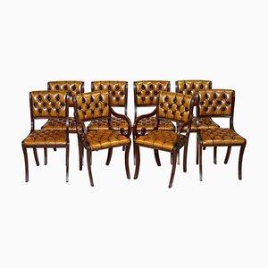 Restaurierte Vintage Chesterfield Esszimmerstühle aus Hartholz & Braunem Leder, 8er Set