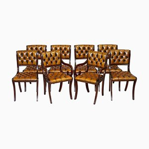 Restored Vintage Hardwood & Brown Leather Chesterfield Dining Chairs, Set of 8