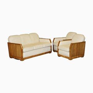 Art Deco Walnut & Cream Leather Sofa & Armchairs by Harry & Lou Epstein, Set of 3