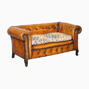 Victorian Leather Chesterfield Club Sofa with Kilim Seat
