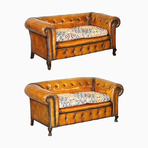 Victorian Leather Chesterfield Club Sofas with Kilim Seats, Set of 2