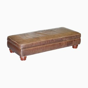 Large Brown Leather Hearth Footstool or 4-Seater Bench