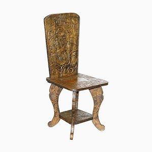Chaise Dynastie Qing avec Sculpture Florale de Liberty of London