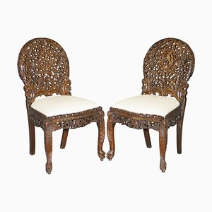 Burmese Hand-Carved Hardwood Chairs with Floral Details, Set of 2