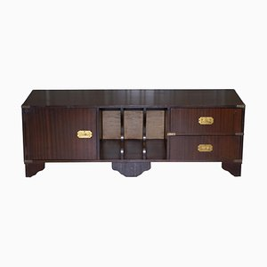 Hardwood Military Campaign Cabinet with Drawers for TV or Turntable