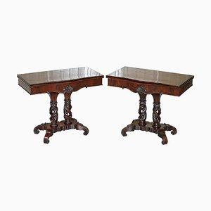 Tables à Cartes Pliantes Regency en Bois de R. Strahan & Co, Irlande, Set de 2
