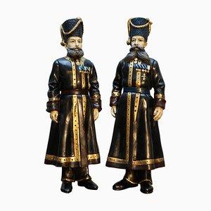 Russische Kamer-Kazak Bodyguard Statuen von Faberge, 1912, 2er Set