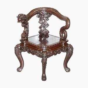 Japanese Qing Dynasty Carved Hardwood Dragon Corner Armchair, 1880s