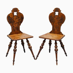 Victorian Poker Hall Chairs with Armorial Lion Crest Backs, Set of 2