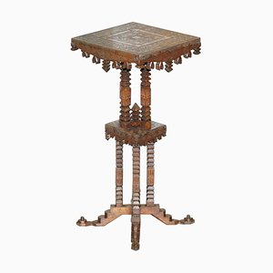 19th Century Anglo Indian Hand-Carved Teak Side Table or Plant Stand