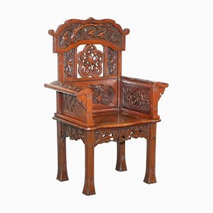 Qing Dynasty Carved Hardwood Chinese Armchair Depicting Birds, 1900s