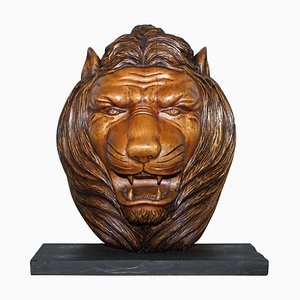 Large Hand-Carved Lion's Mane Bust in Wood with Solid Marble Base